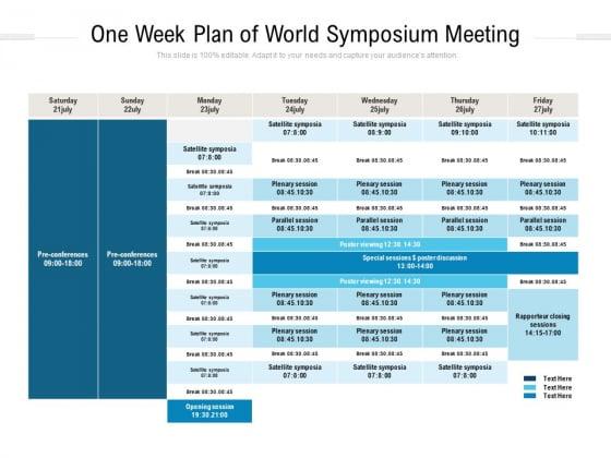 One Week Plan Of World Symposium Meeting Ppt PowerPoint Presentation Visual Aids Summary PDF