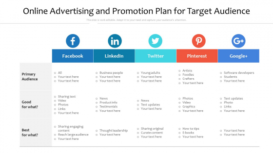 Online Advertising And Promotion Plan For Target Audience Ppt PowerPoint Presentation Infographics Aids PDF