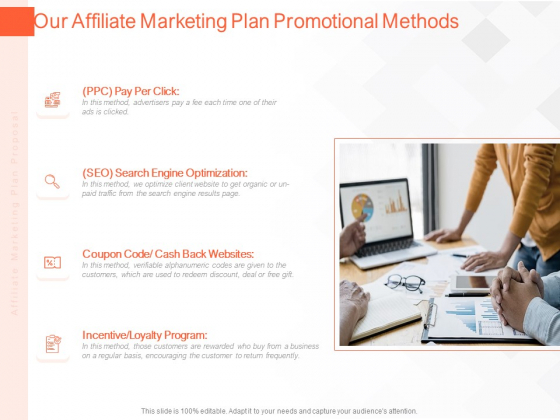 Online Advertising Plan Proposal Our Affiliate Marketing Plan Promotional Methods Ppt Pictures Ideas PDF