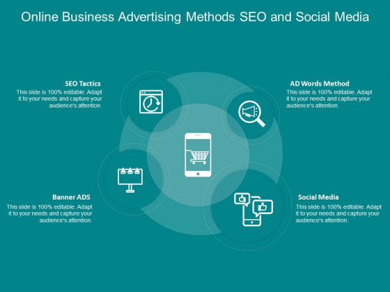Online Business Advertising Methods Seo And Social Media Ppt Powerpoint Presentation Portfolio Clipart Images