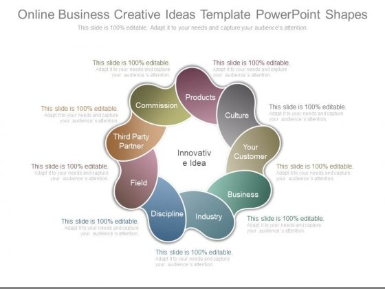 Online Business Creative Ideas Template Powerpoint Shapes
