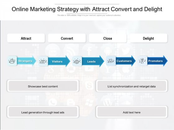 Online Marketing Strategy With Attract Convert And Delight Ppt PowerPoint Presentation Inspiration Templates PDF