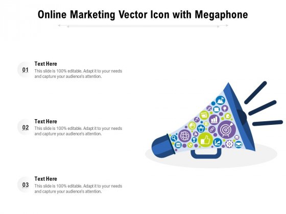 Online Marketing Vector Icon With Megaphone Ppt PowerPoint Presentation Outline Design Inspiration PDF