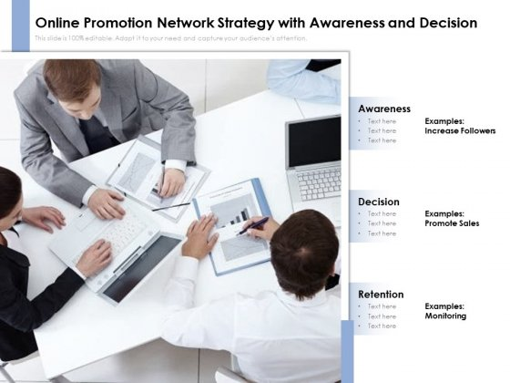 Online Promotion Network Strategy With Awareness And Decision Ppt PowerPoint Presentation File Infographics PDF
