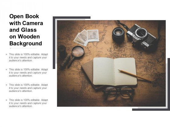 Open Book With Camera And Glass On Wooden Background Ppt PowerPoint Presentation Professional Deck