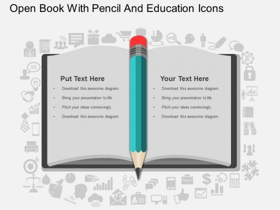Open Book With Pencil And Education Icons Powerpoint Template