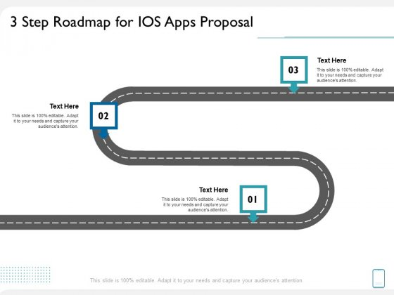 operating system application 3 step roadmap for ios apps proposal ppt show graphics example pdf
