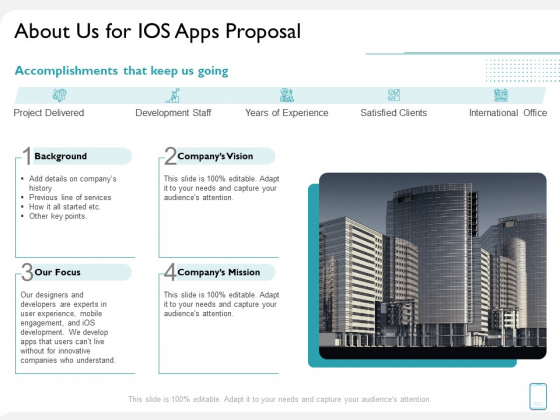 operating system application about us for ios apps proposal ppt styles example file pdf