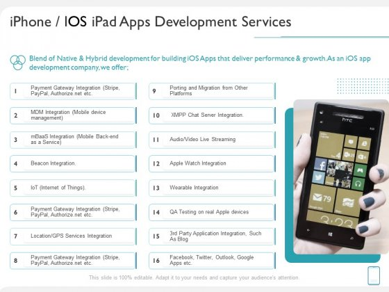 Operating System Application Iphone IOS Ipad Apps Development Services Ppt Layouts Information PDF
