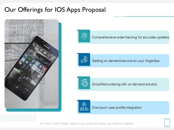 Operating System Application Our Offerings For IOS Apps Proposal Ppt Model Slide Portrait