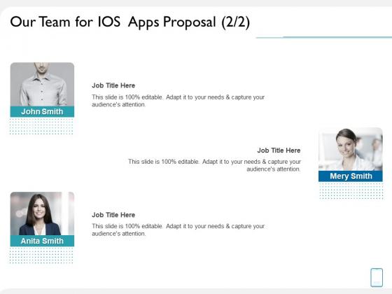 Operating System Application Our Team For IOS Apps Proposal Management Ppt Infographic Template Inspiration PDF