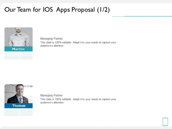 Operating System Application Our Team For IOS Apps Proposal Ppt Summary Structure PDF