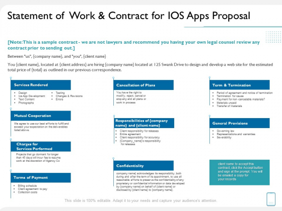 Operating System Application Statement Of Work And Contract For IOS Apps Proposal Ppt Layouts Designs Download PDF