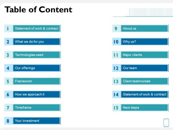Operating System Application Table Of Content Ppt Slides Sample PDF