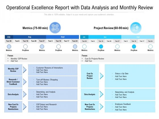 Operational Excellence Report With Data Analysis And Monthly Review Ppt PowerPoint Presentation Show Example File PDF