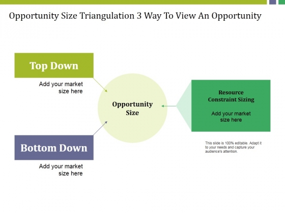 Opportunity Size Triangulation 3 Way To View An Opportunity Ppt PowerPoint Presentation Portfolio File Formats