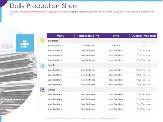 Optimization Restaurant Operations Daily Production Sheet Ppt Ideas PDF