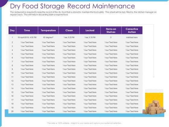 Optimization Restaurant Operations Dry Food Storage Record Maintenance Ppt Show Diagrams PDF