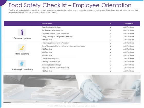 Optimization Restaurant Operations Food Safety Checklist Employee Orientation Infographics PDF