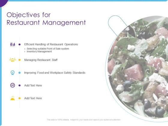 Optimization Restaurant Operations Objectives For Restaurant Management Background PDF