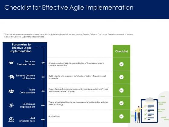 Optimizing Tasks Team Collaboration Agile Operations Checklist For Effective Agile Implementation Demonstration PDF