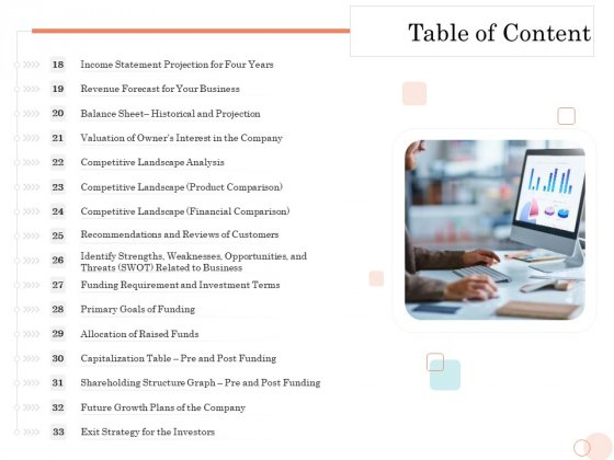 Option Pool Funding Pitch Deck Table Of Content Slide2 Slides PDF