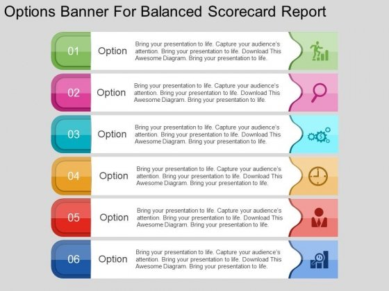 Options Banner For Balanced Scorecard Report Powerpoint Template
