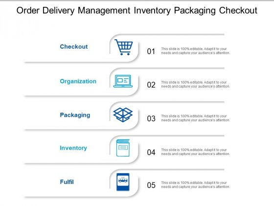 Order Delivery Management Inventory Packaging Checkout Ppt PowerPoint Presentation Inspiration Objects