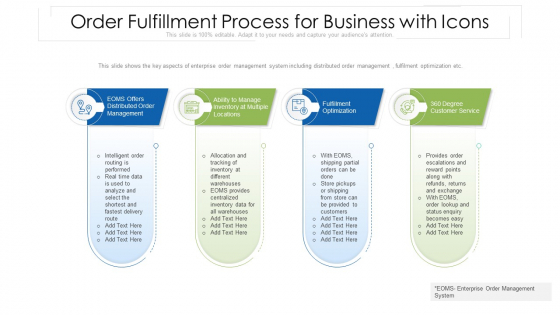 Order Fulfillment Process For Business With Icons Ppt PowerPoint Presentation Gallery Inspiration PDF