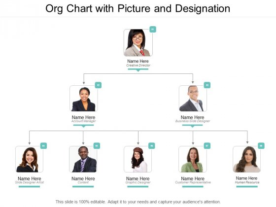 Org Chart With Picture And Designation Ppt PowerPoint Presentation Portfolio Slides