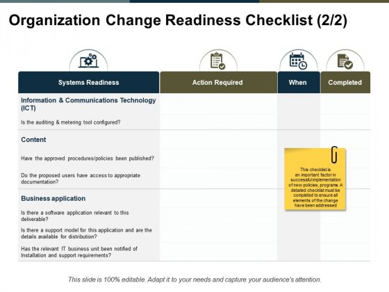 Organization Change Readiness Checklist Completed Ppt PowerPoint Presentation Ideas Background Image