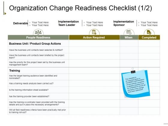 Organization Change Readiness Checklist Template 1 Ppt PowerPoint Presentation Inspiration Show