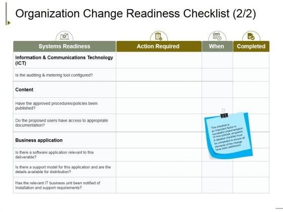 Organization Change Readiness Checklist Template 2 Ppt PowerPoint Presentation Gallery Visuals