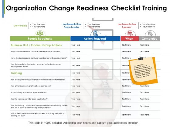 Organization Change Readiness Checklist Training Ppt PowerPoint Presentation Ideas Templates