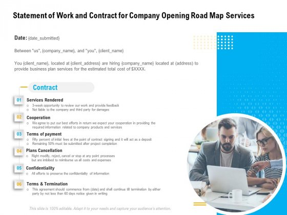 Organization Inception Timeline Proposal Statement Of Work And Contract For Company Opening Road Map Services Pictures PDF