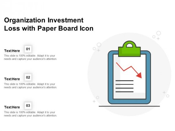 Organization Investment Loss With Paper Board Icon Ppt PowerPoint Presentation File Model PDF