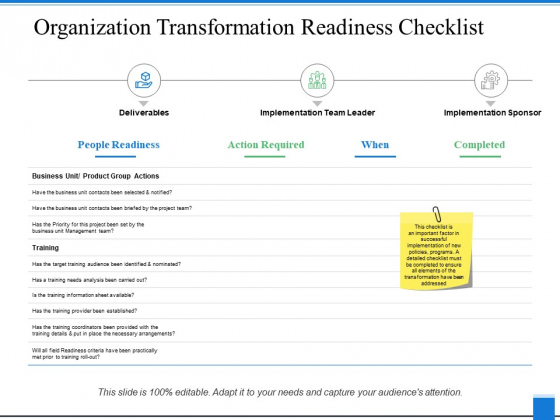 Organization Transformation Readiness Checklist Ppt PowerPoint Presentation Summary Layout Ideas