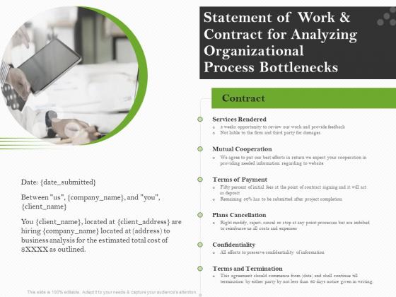 Organizational Development Statement Of Work And Contract For Analyzing Organizational Process Bottlenecks Mockup PDF