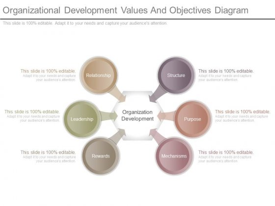 Organizational Development Values And Objectives Diagram