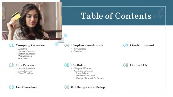 Organizational Event Management Table Of Contents Clipart PDF