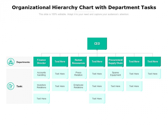 Organizational Hierarchy Chart With Department Tasks Ppt PowerPoint Presentation Pictures Format Ideas