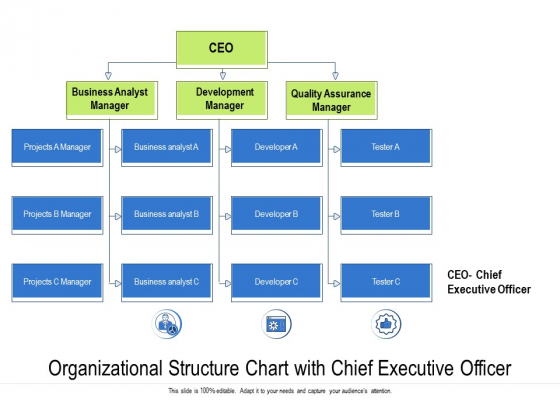 Organizational Structure Chart With Chief Rxecutive Officer Ppt PowerPoint Presentation Model Graphics Template PDF