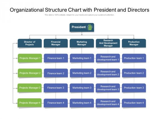 Organizational Structure Chart With President And Directors Ppt PowerPoint Presentation Layouts Diagrams PDF