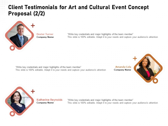 Organizing Perfect Arts Culture Festival Client Testimonials For Art And Cultural Event Concept Introduction PDF