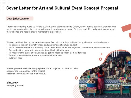 Organizing Perfect Arts Culture Festival Cover Letter For Art And Cultural Event Concept Proposal Designs PDF