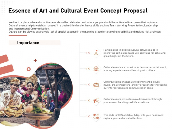 Organizing Perfect Arts Culture Festival Essence Of Art And Cultural Event Concept Proposal Formats PDF