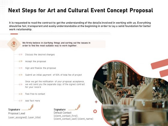 Organizing Perfect Arts Culture Festival Next Steps For Art And Cultural Event Concept Proposal Microsoft PDF