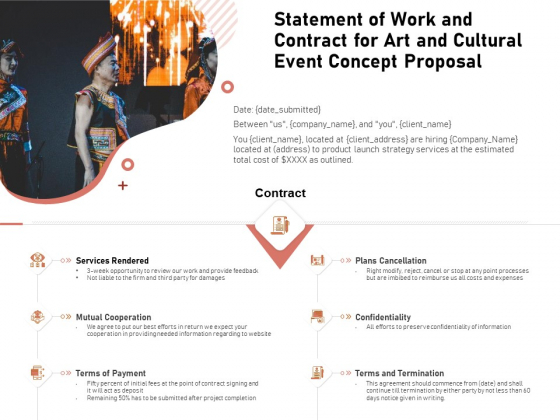 Organizing Perfect Arts Culture Festival Statement Of Work And Contract For Art And Event Concept Rules PDF