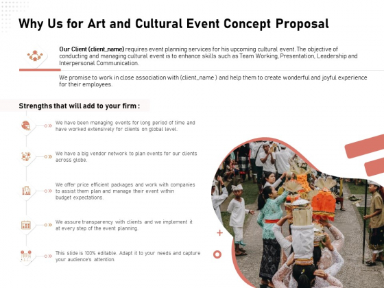 Organizing Perfect Arts Culture Festival Why Us For Art And Cultural Event Concept Proposal Ppt Layouts Templates PDF