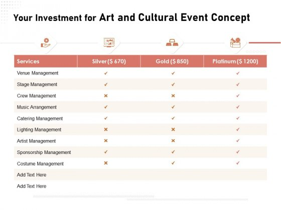 Organizing Perfect Arts Culture Festival Your Investment For Art And Cultural Event Concept Ppt Slides Background Image PDF
